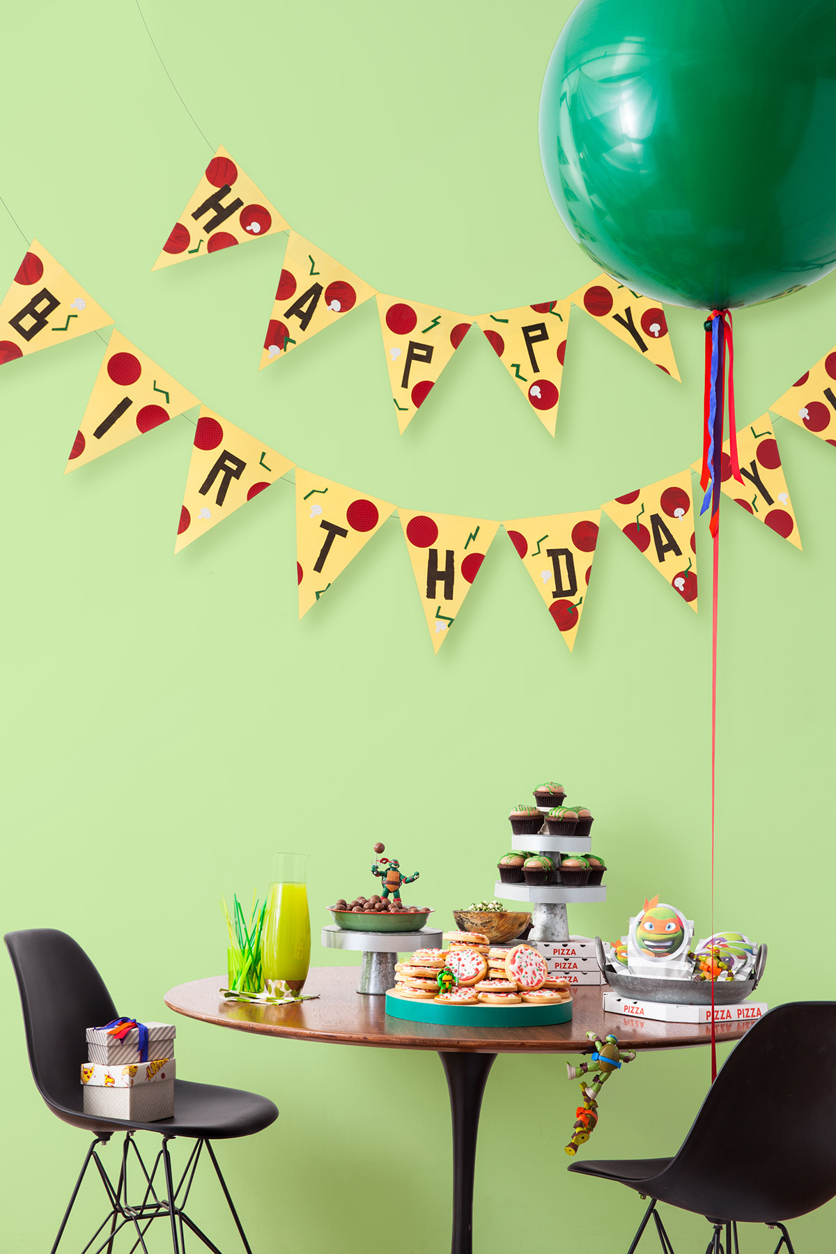 Tmnt Printable Pizza Pendant Birthday Banner | Nickelodeon Parents - Free Printable Ninja Turtle Birthday Banner