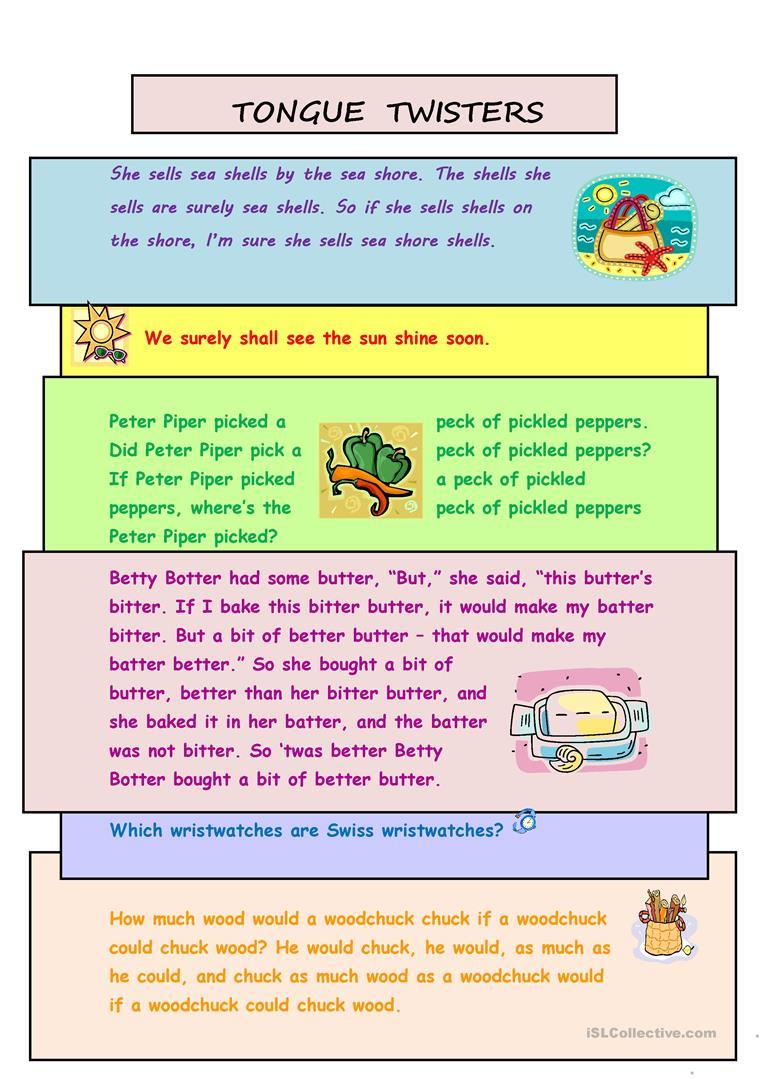 Tongue Twisters Worksheet - Free Esl Printable Worksheets Made - Free Printable Tongue Twisters