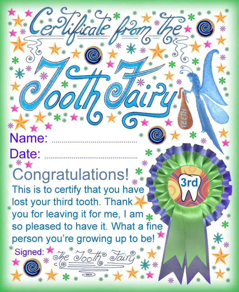 Tooth Fairy Certificate: Award For Losing Your Third Tooth | Rooftop - Free Printable Tooth Fairy Certificate