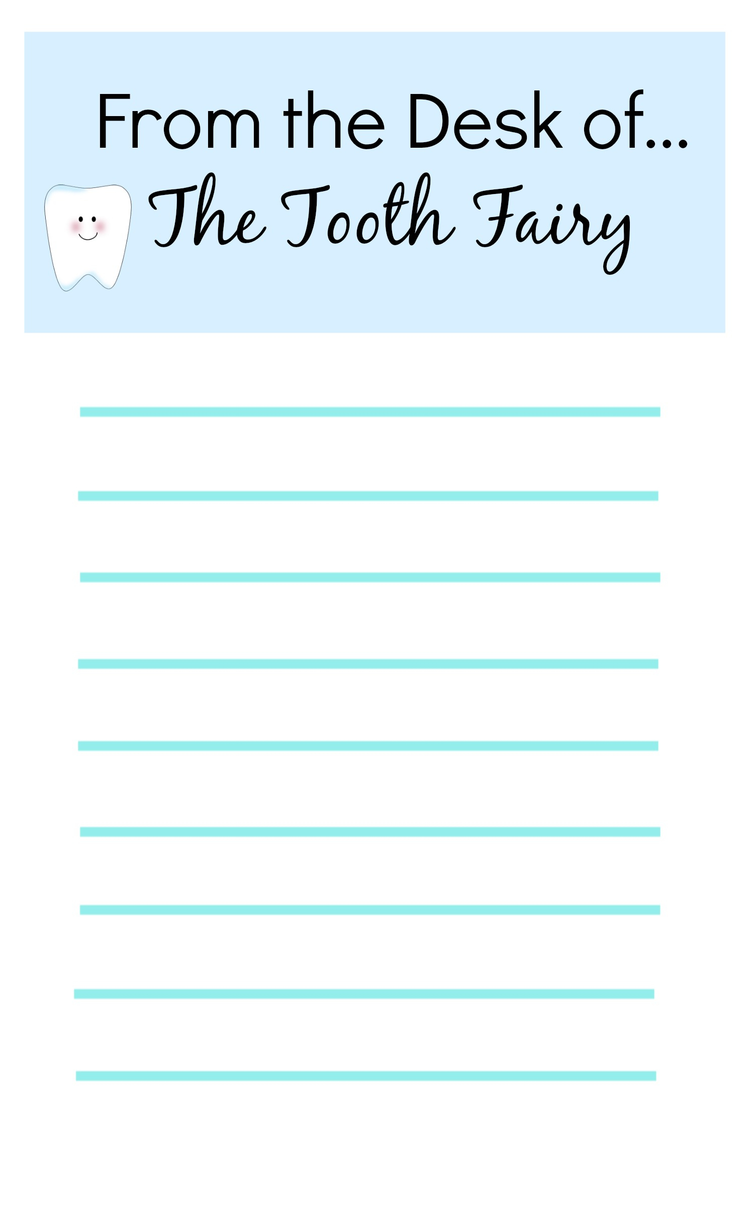Tooth Fairy Ideas And Free Printables: Tooth Fairy Letterhead Report - Free Printable Tooth Fairy Pictures