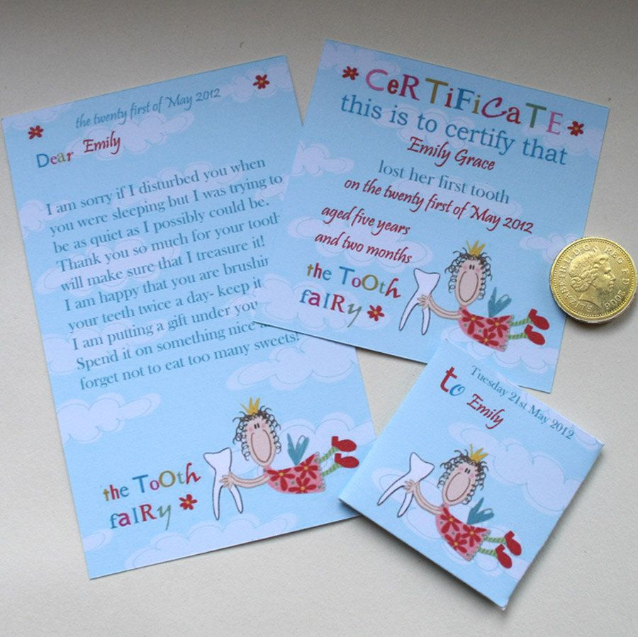 Tooth Fairy Kit- Certificate Letter Envelope- Flying Fairy - Free Printable Tooth Fairy Letter And Envelope