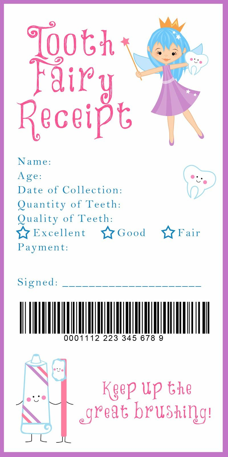 Tooth Fairy Receipt And Many Other Awesome Printables | Kids - Tooth Fairy Stationery Free Printable