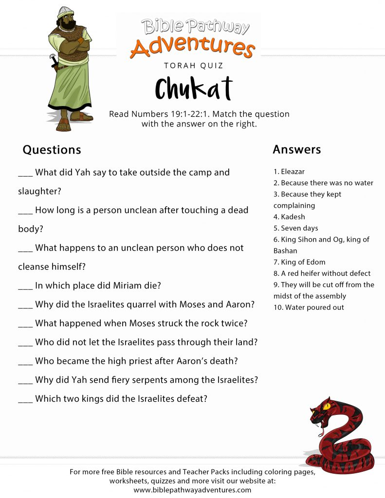 picture relating to Free Printable Bible Study Lessons With Questions and Answers identify Torah Component Quiz: Chukat (Figures 19:1-22:1) Bible