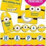 Totally Free Minions Party Printables Set | Minions Birthday Party   Thanks A Minion Free Printable