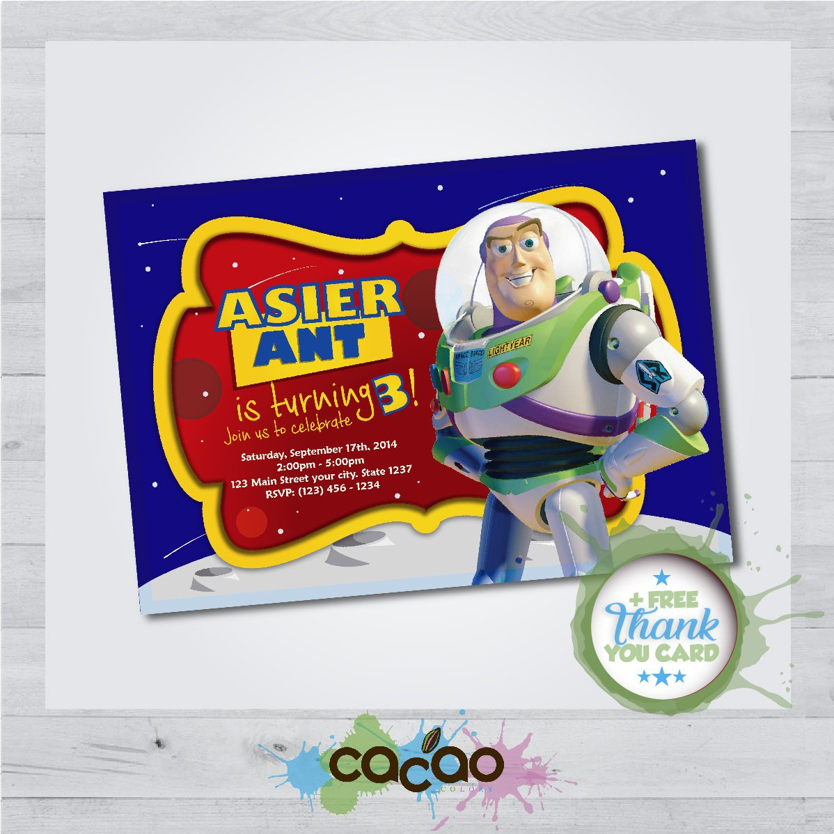 Toy Story Buzz Lightyear Invitation Toy Story Buzz Lightyear | Etsy - Toy Story Birthday Card Printable Free