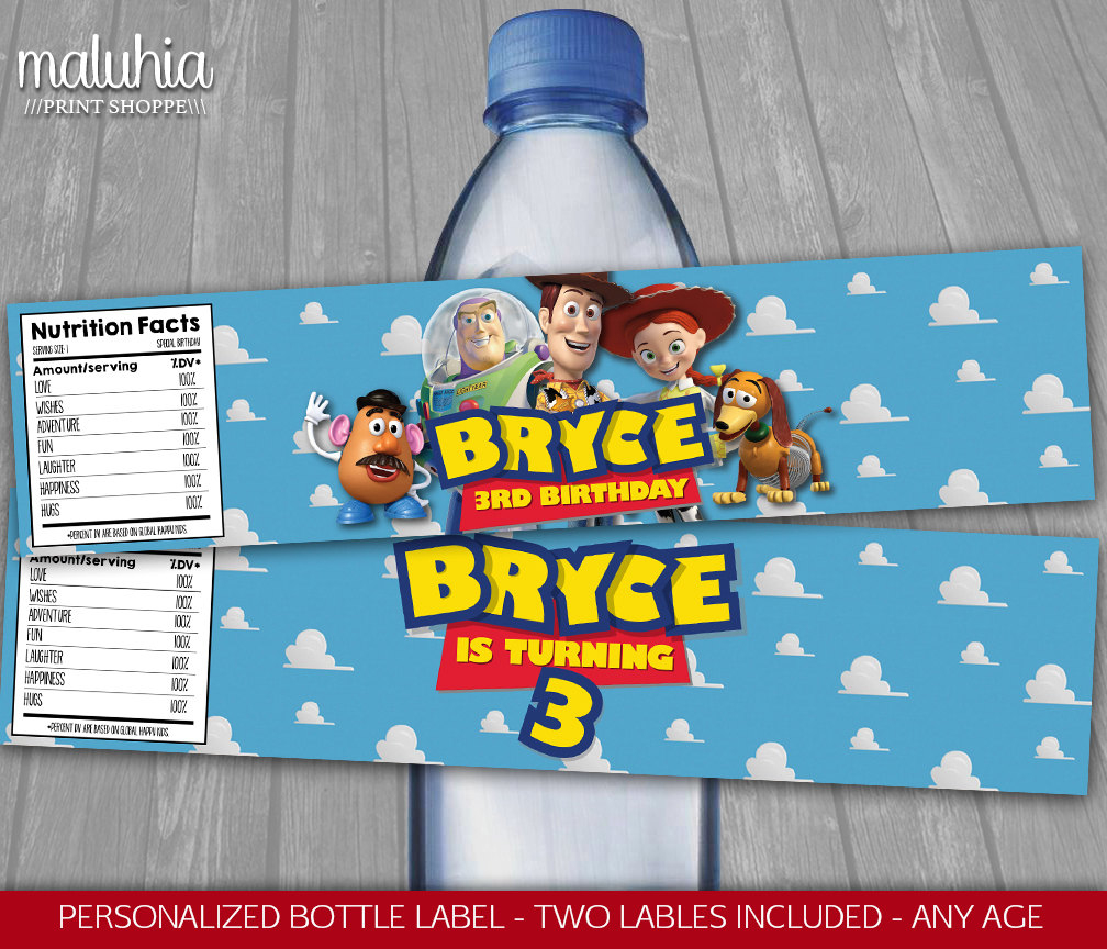 Toy Story Water Bottle Label Personalized Disney Toy Story | Etsy - Free Printable Toy Story Water Bottle Labels