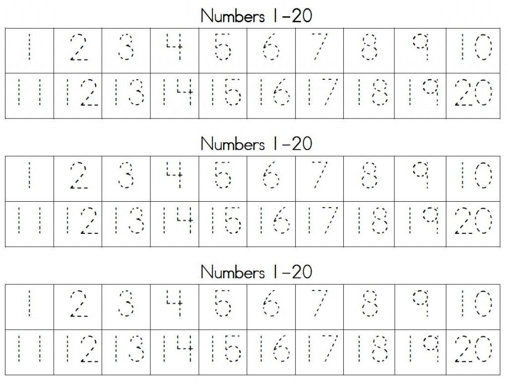 Trace Numbers 1 20 | Kiddo Shelter - Free Printable Counting Worksheets 1 20