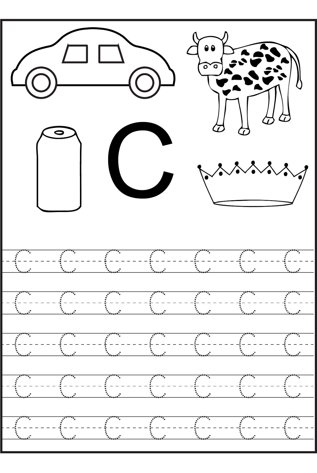Trace The Letter C Worksheets | Alphabet And Numbers Learning - Free Printable Letter C Worksheets