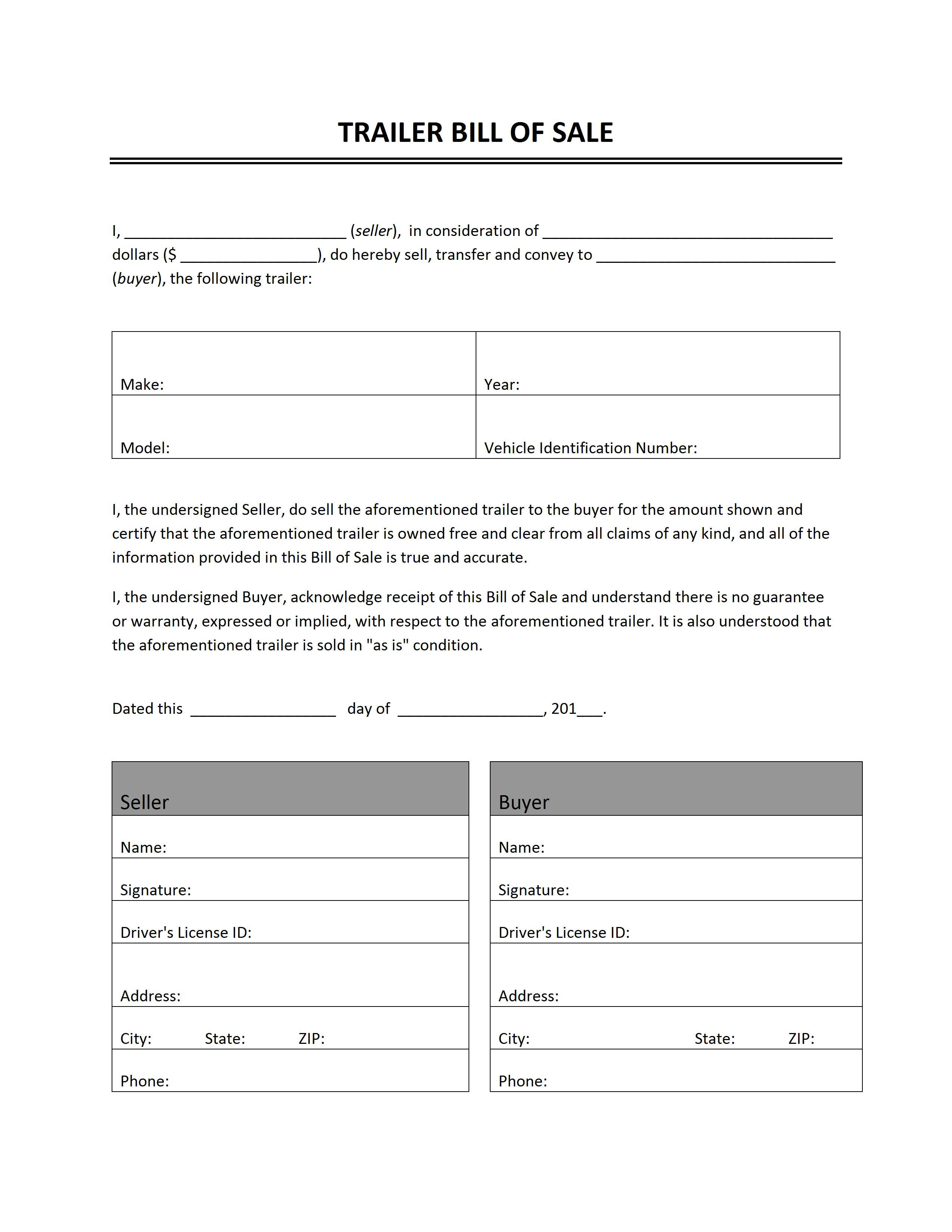 Trailer Bill Of Sale - Free Printable Bill Of Sale For Trailer