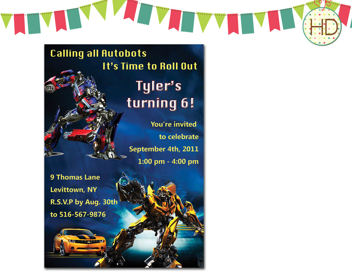 Transformers Birthday Invitation — Birthday Invitation Examples - Transformers Party Invitations Free Printable