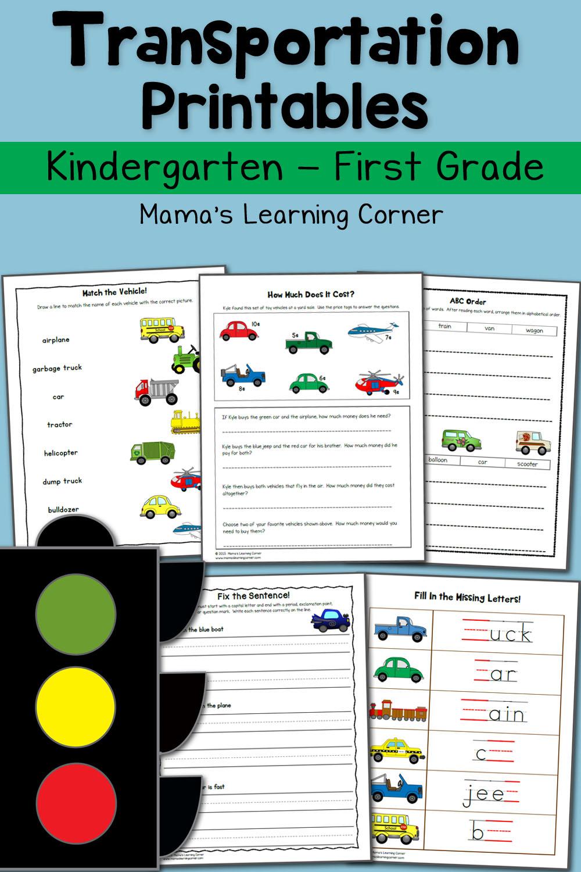 Transportation Worksheets For Kindergarten And First Grade - Mamas - Free Printable Transportation Worksheets For Kids