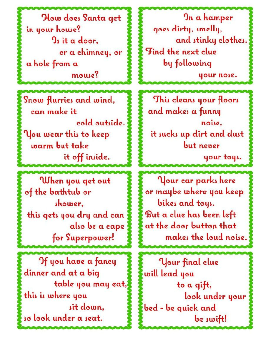 Treasure Hunt Clue Cards- Page 2 | Elfoutfitters #elfoutfitters - Free Printable Christmas Treasure Hunt Clues