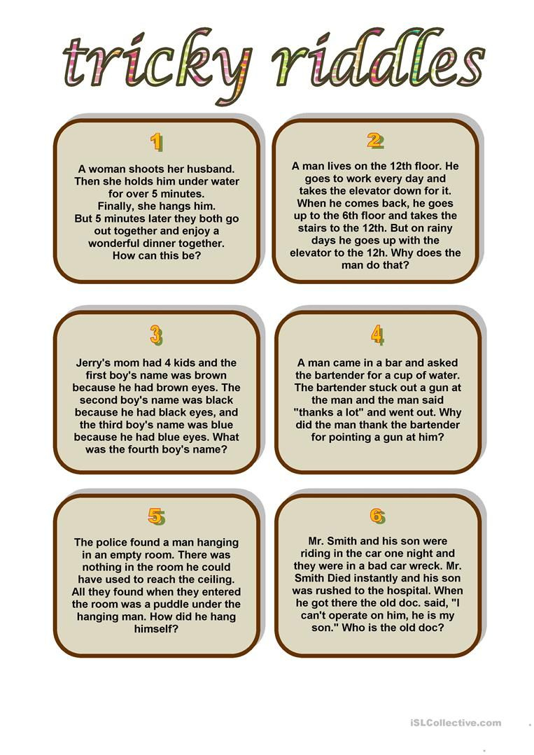 Tricky Riddles Worksheet - Free Esl Printable Worksheets Made - Free Printable Riddles