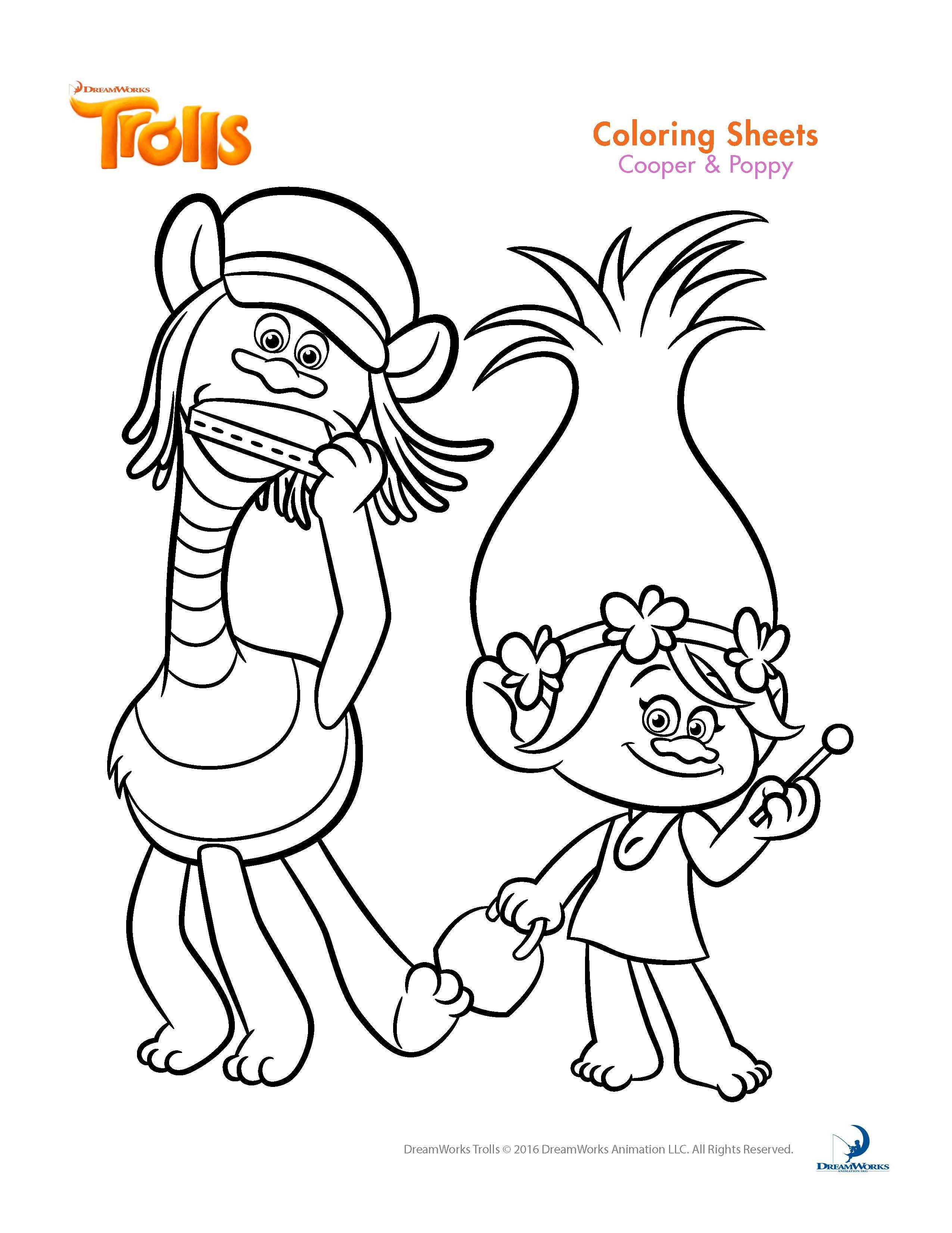 Trolls Coloring Pages And Printable Activity Sheets | Trolls B-Day - Free Printable Troll Coloring Pages