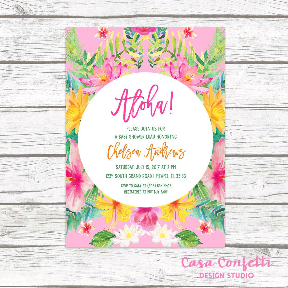 Tropical Baby Shower Invitation, Luau Baby Shower Invitation, Aloha - Free Printable Luau Baby Shower Invitations