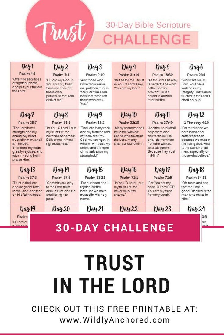 Trust In The Lord + 30-Day Trust Challenge Free Printable - Free Printable Bible Studies For Men
