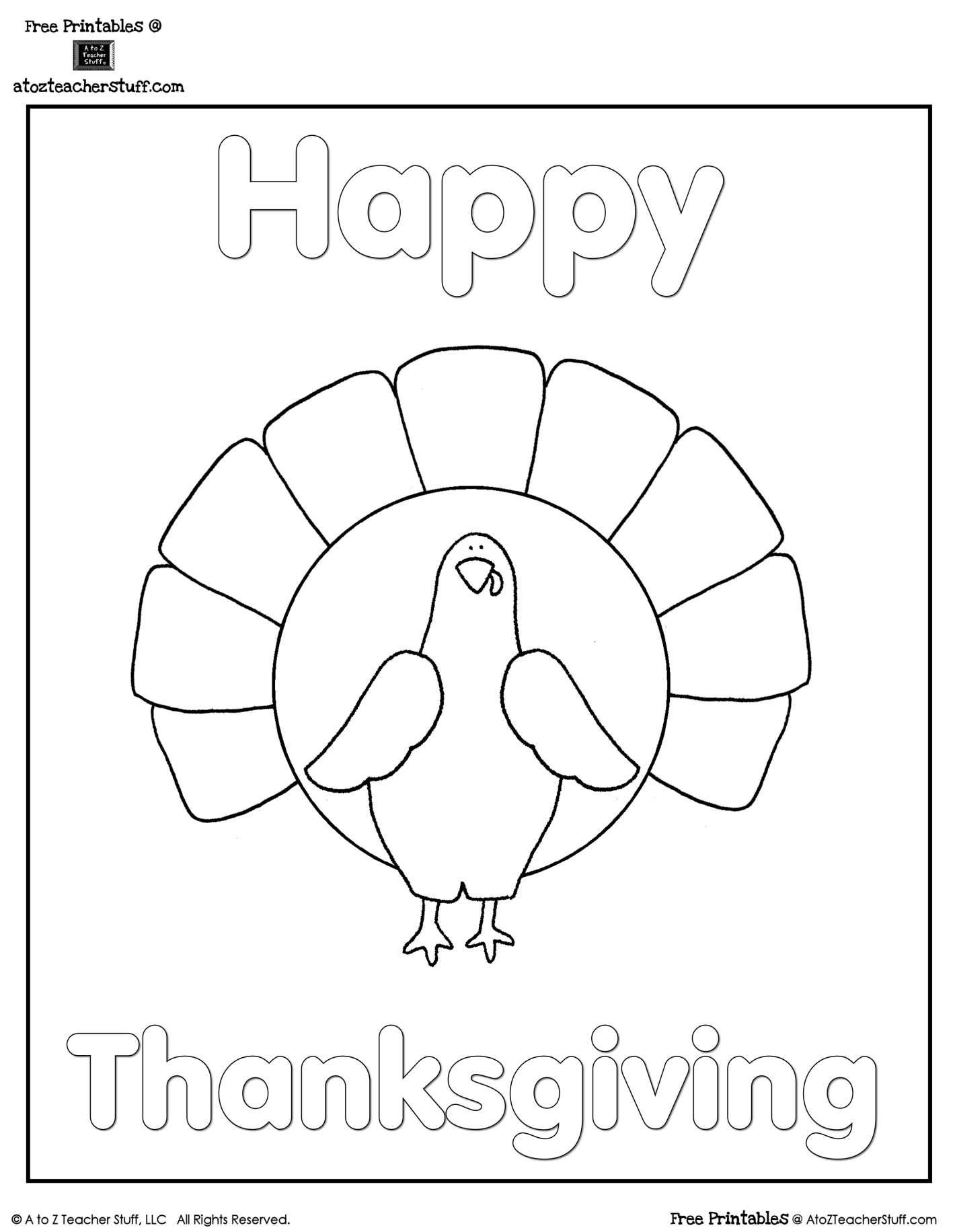 Turkey Coloring Sheet | A To Z Teacher Stuff Printable Pages And - Free Printable Thanksgiving Turkey Template