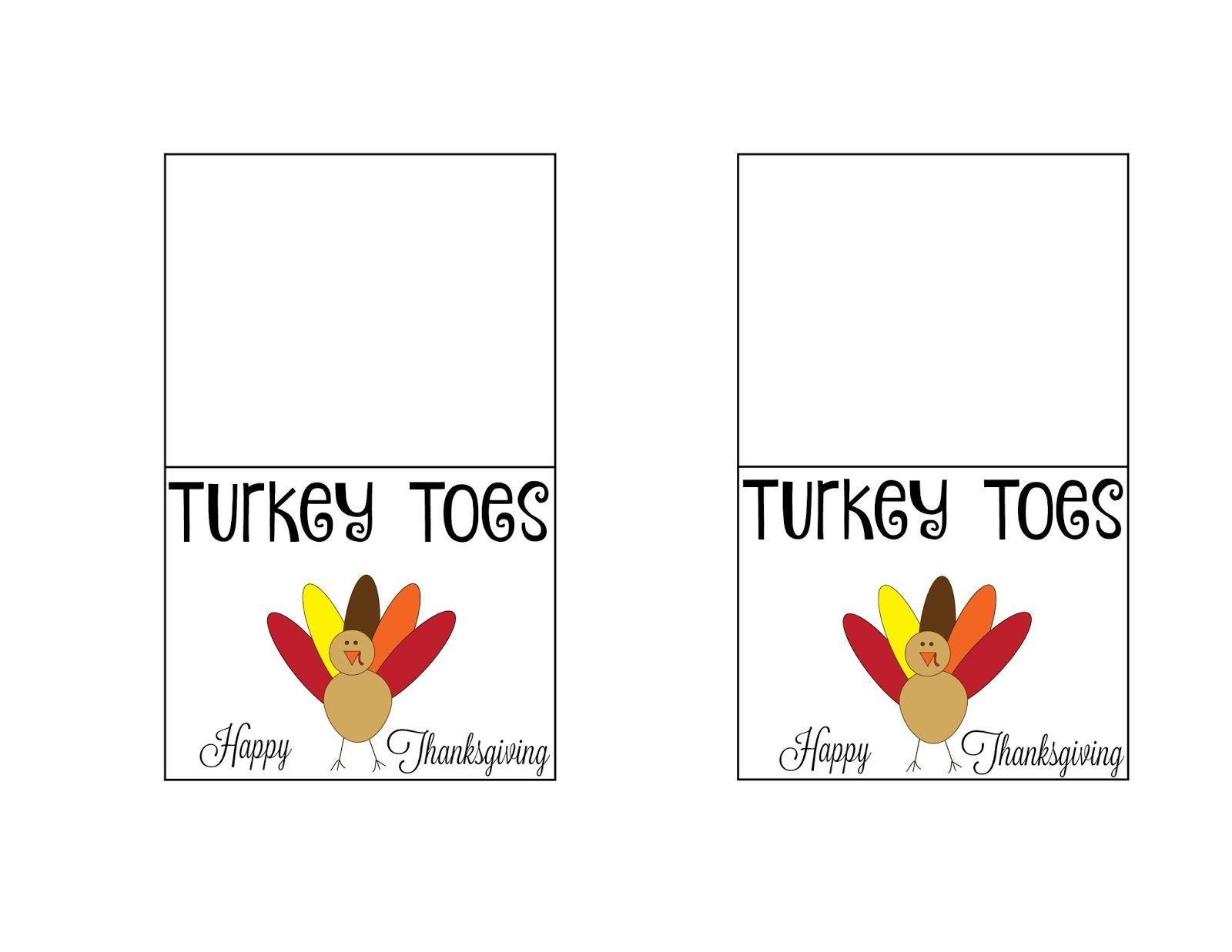 Turkey Toes Treat Bags {Free Printable} | Thanksgiving | Pinterest - Free Printable Turkey
