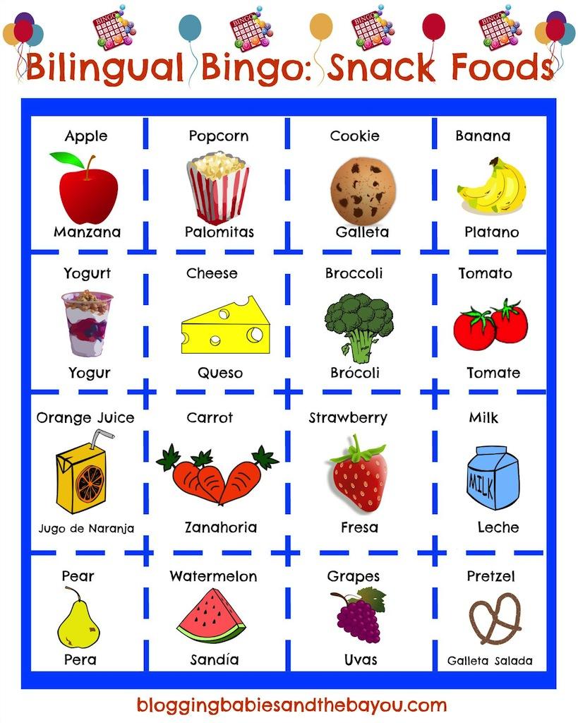 Turning Our Day Into La Merienda + Bilingual After School Bingo - Free Printable Spanish Bingo Cards
