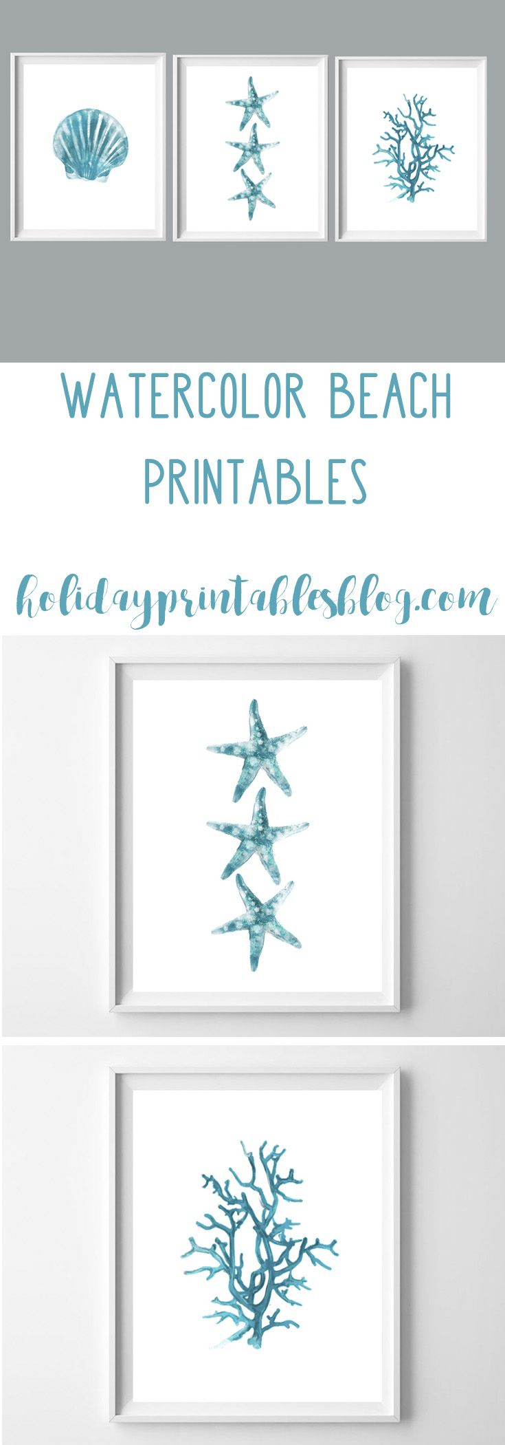 Turquoise Watercolor Beach Printable Art In 2019 | Printables - Free Printable Beach Pictures