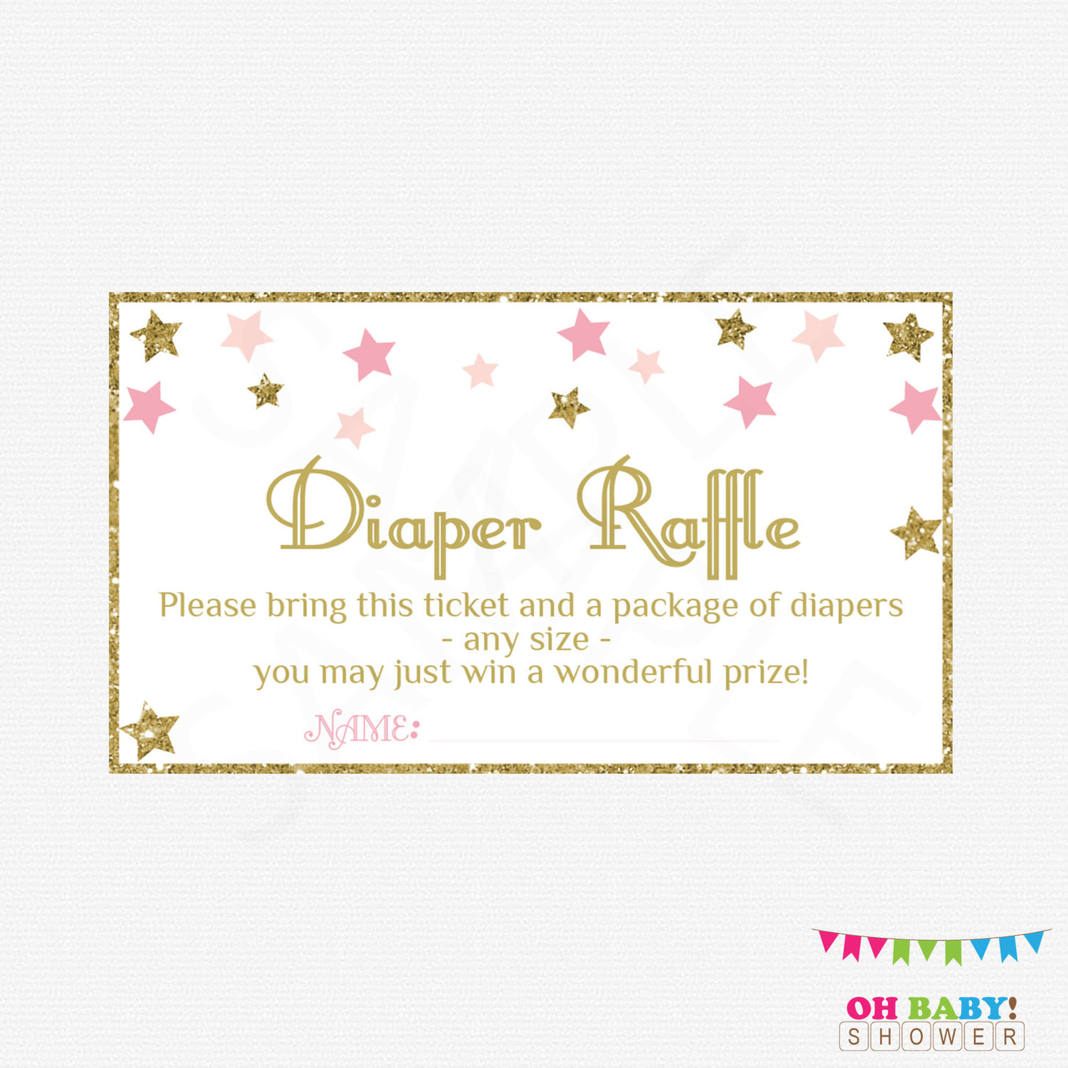 Twinkle Twinkle Little Star Baby Shower Diaper Raffle Ticket | Etsy - Free Printable Baby Shower Diaper Raffle Tickets