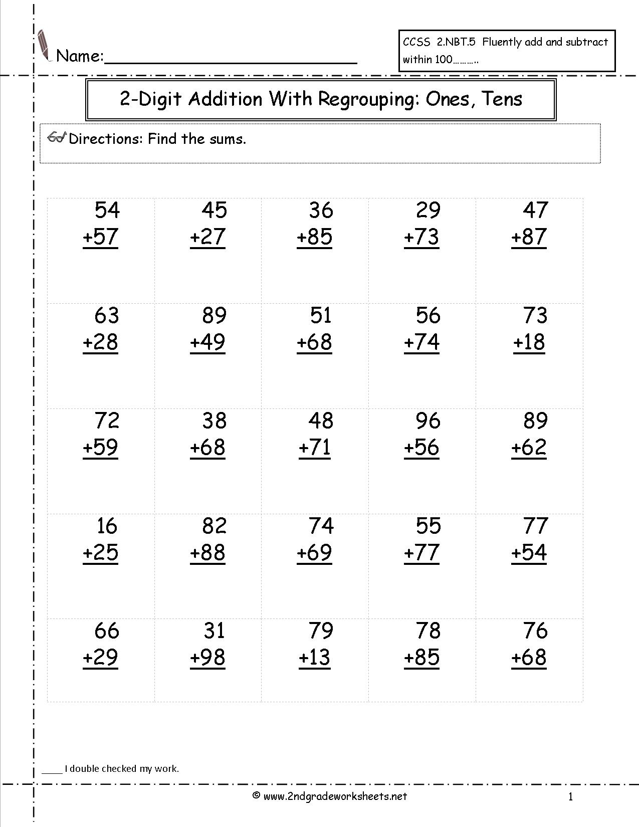 Two Digit Addition Worksheets - Free Printable Addition Worksheets