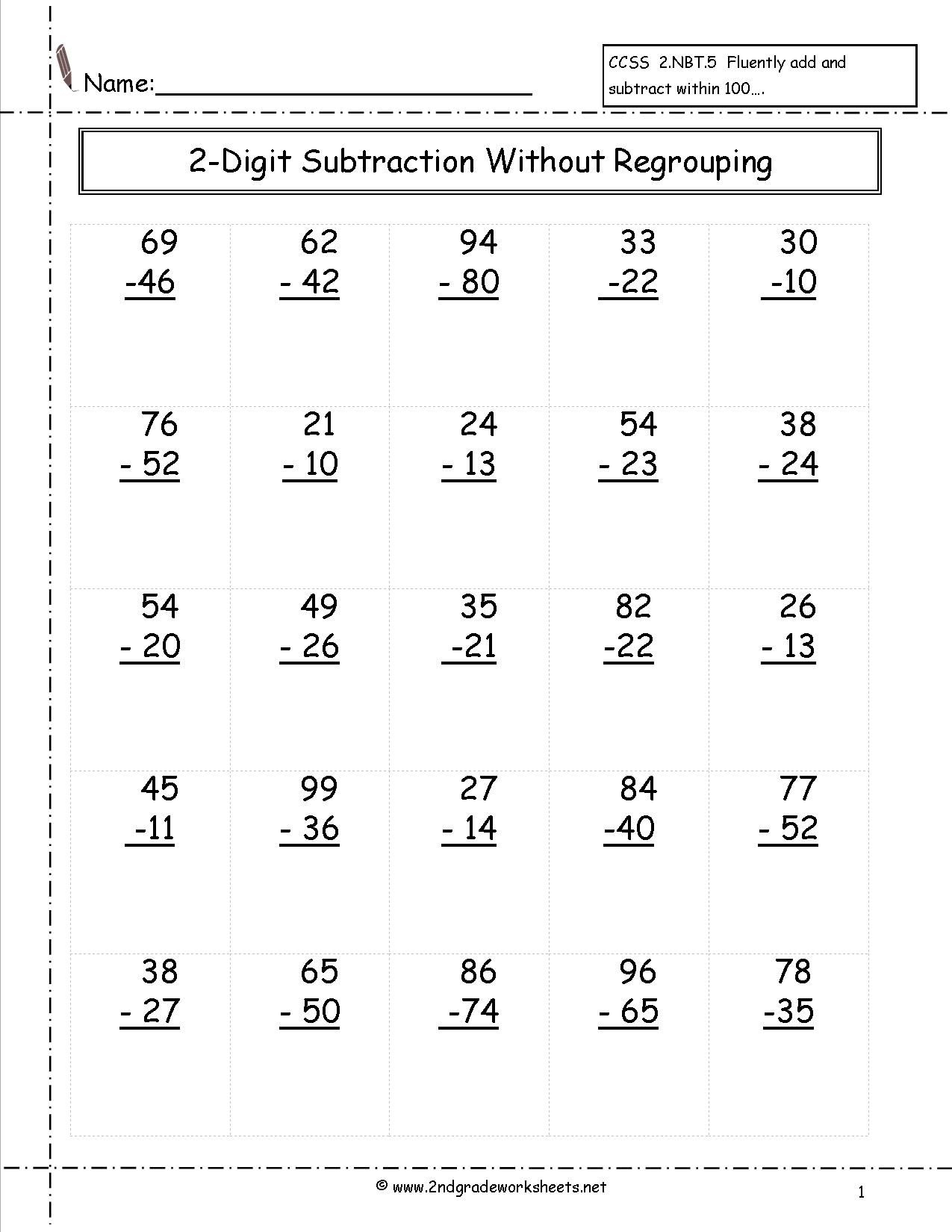 Two Digit Subtraction Without Regrouping Worksheet | 2Nd Grade - Free Printable Subtraction Worksheets For 2Nd Grade