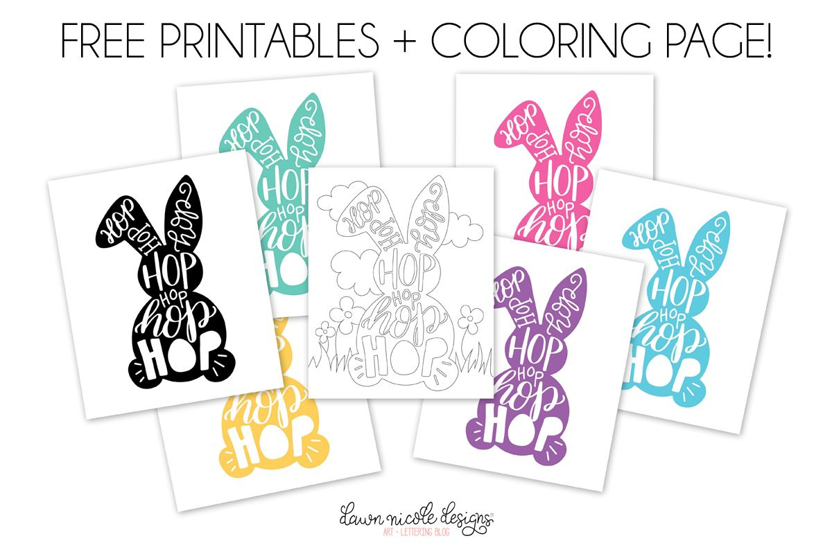 Typographic Easter Bunny Free Printables + Coloring Page | Free Pink - Free Printable Bunny Pictures