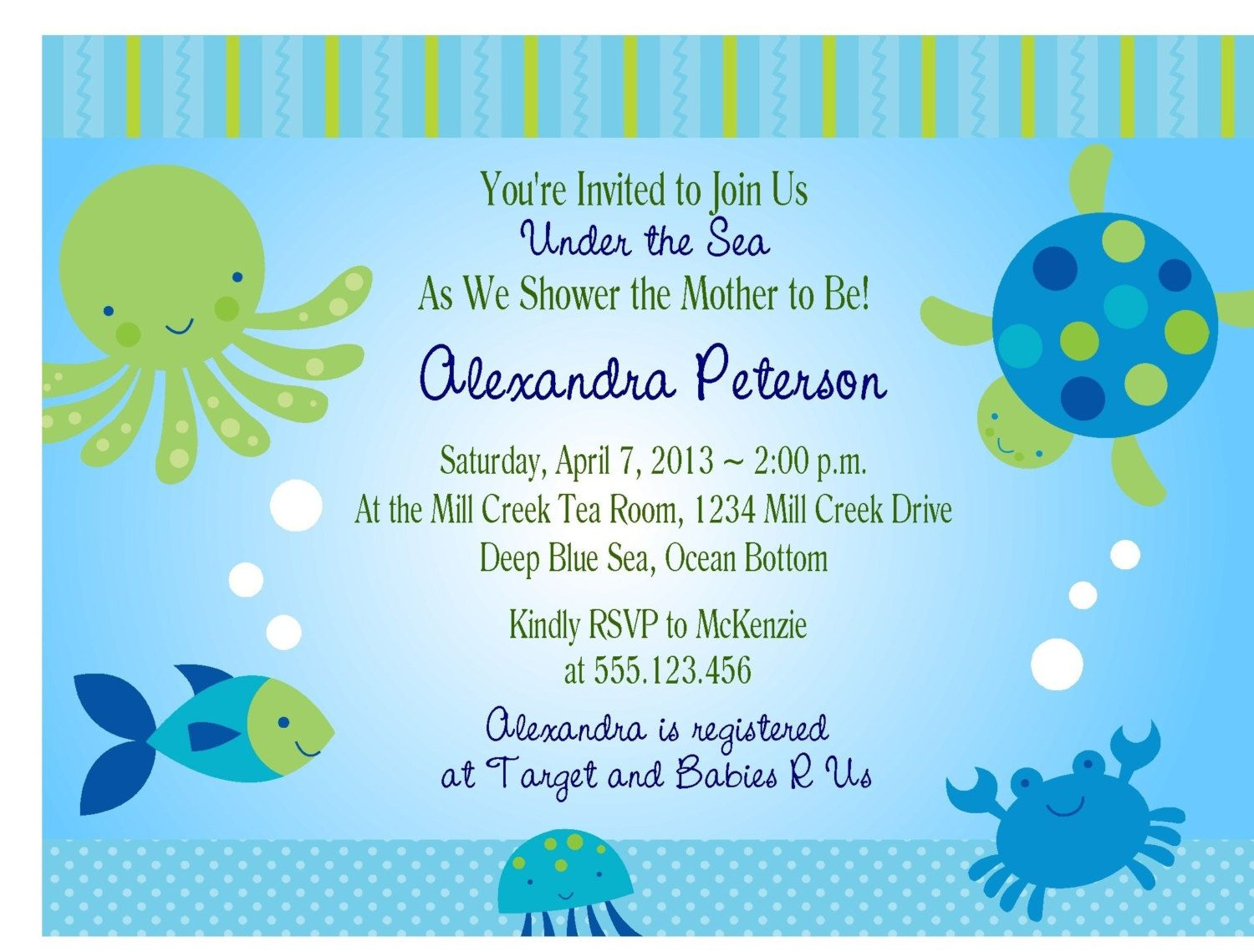 Under The Sea Baby Shower Invitations Free Templates | Invitations - Free Printable Turtle Baby Shower Invitations