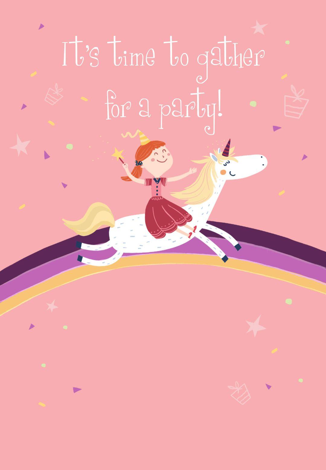 Unicorn - Free Printable Birthday Invitation Template | Greetings - Free Stork Party Invitations Printable