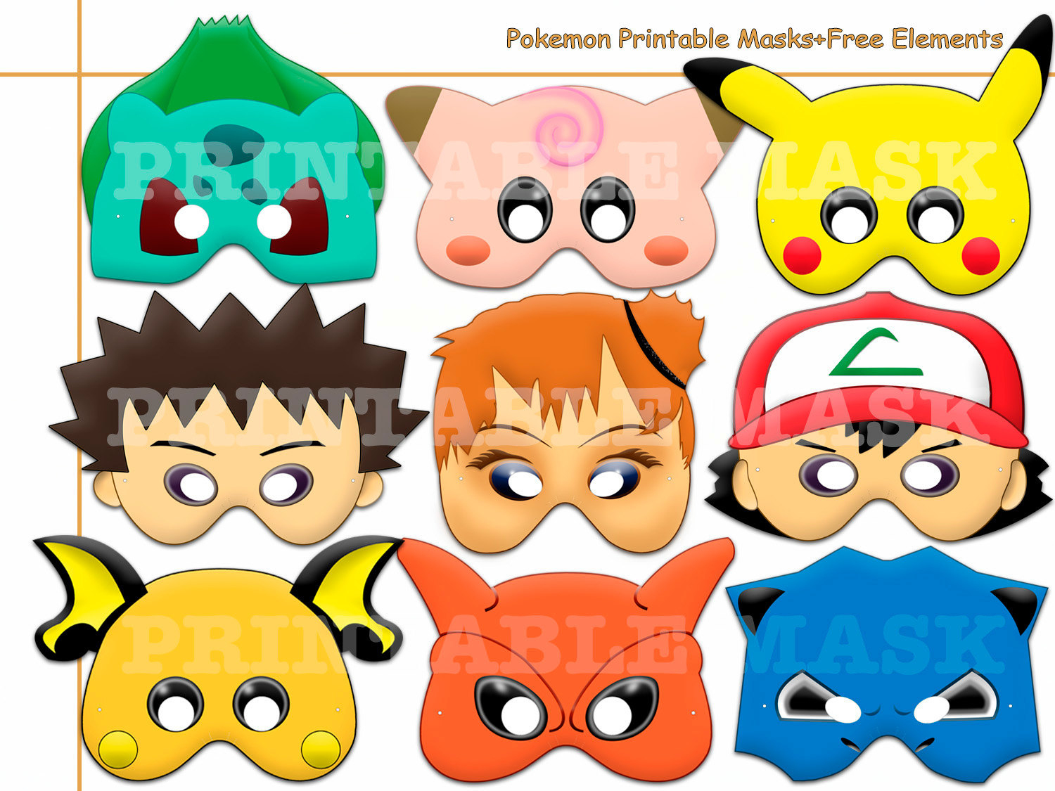 Unique Pokemon Printable Masks+Freeholidaypartystar On Zibbet - Free Printable Pokemon Masks