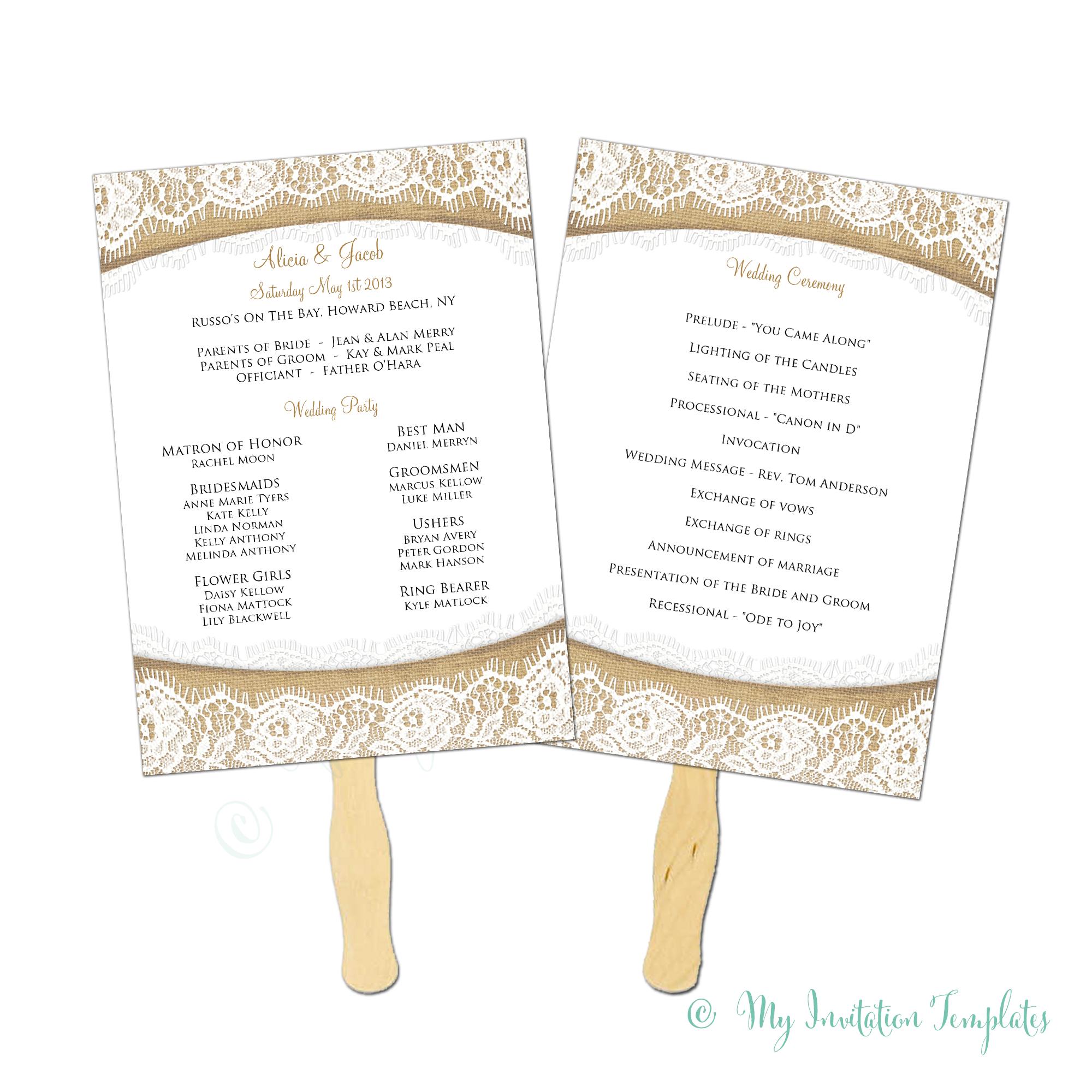 Unique Wedding Program Fan Templates ~ Ulyssesroom - Free Printable Wedding Fan Templates