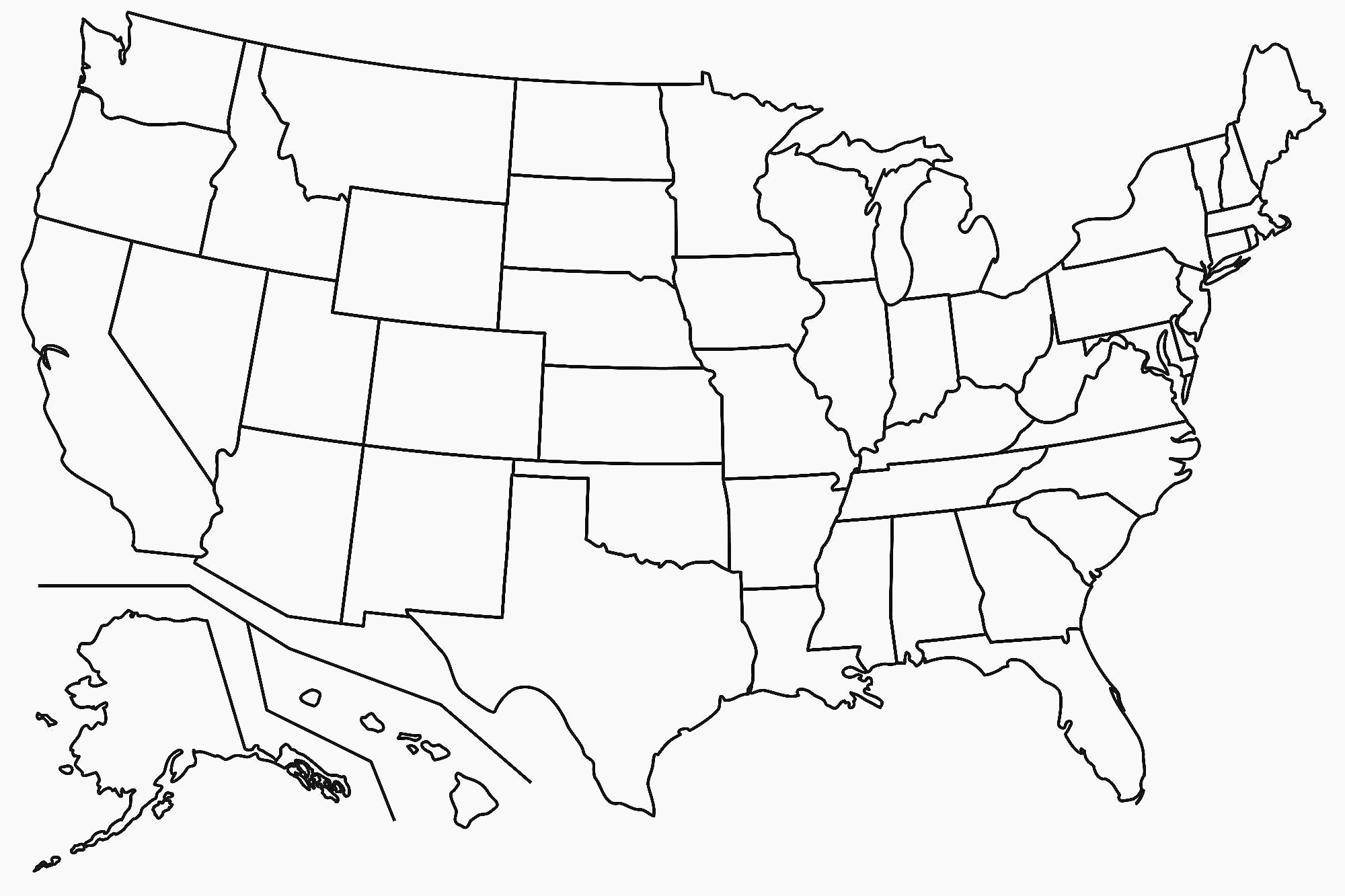 United States Map Blank Template Fresh Map Usa States Free Printable - Free Printable State Maps