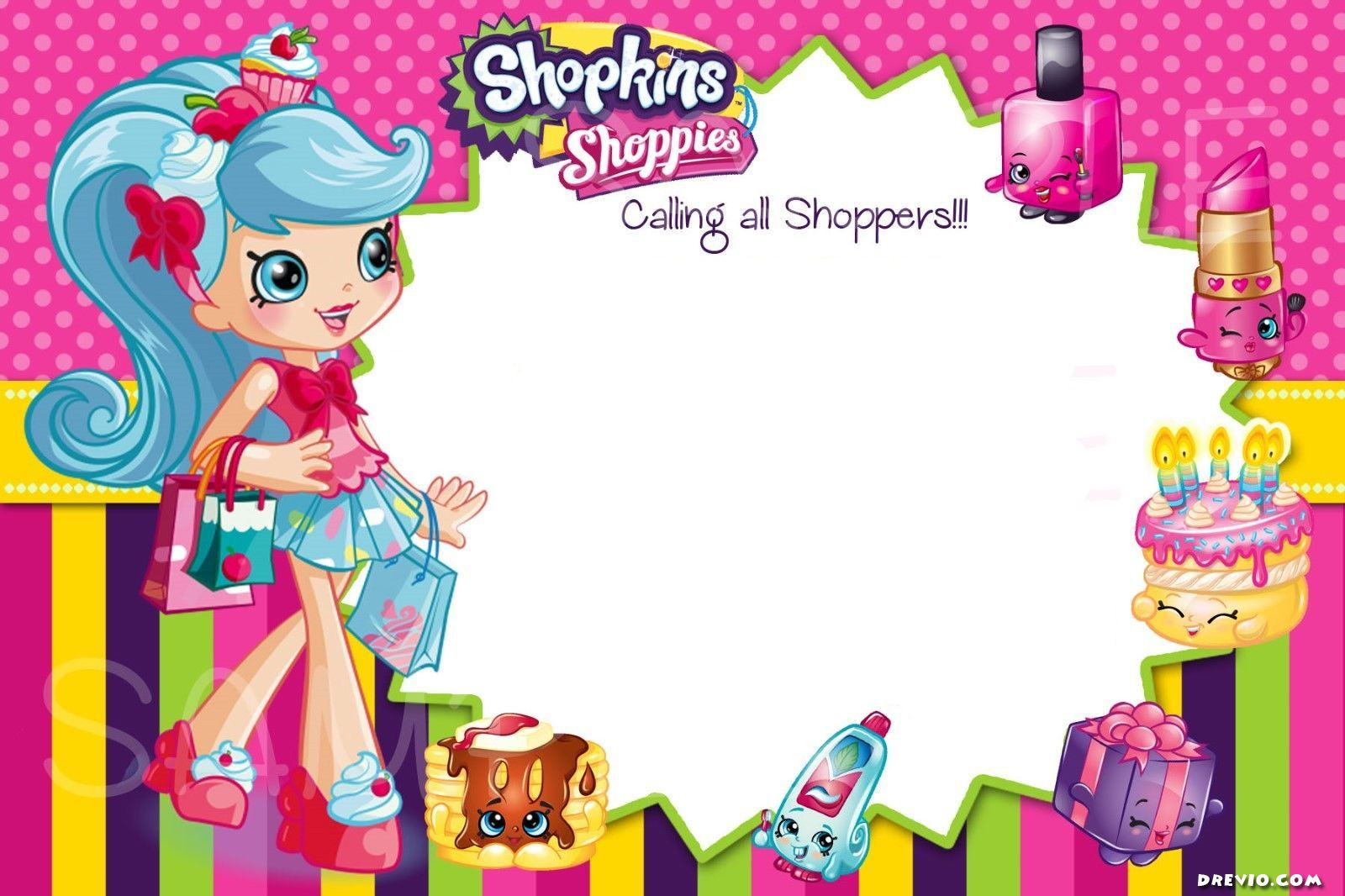 Updated - Free Printable Shopkins Birthday Invitation | Free - Free Printable Shopkins Birthday Invitations
