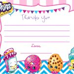 Updated   Free Printable Shopkins Birthday Invitation | Free   Free Printable Shopkins Thank You Cards