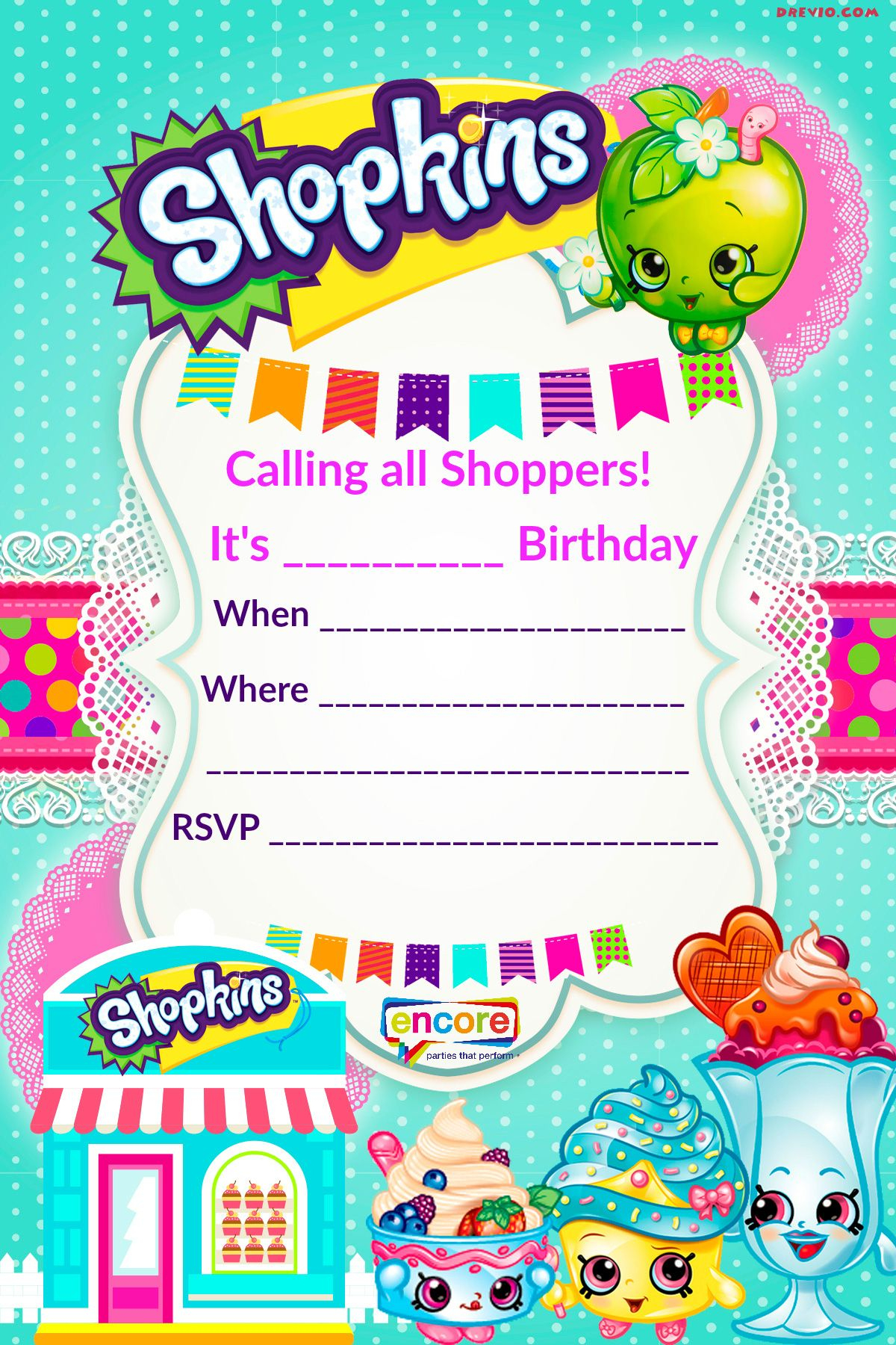Updated – Free Printable Shopkins Birthday Invitation Template - Free Printable Birthday Invitation Cards Templates