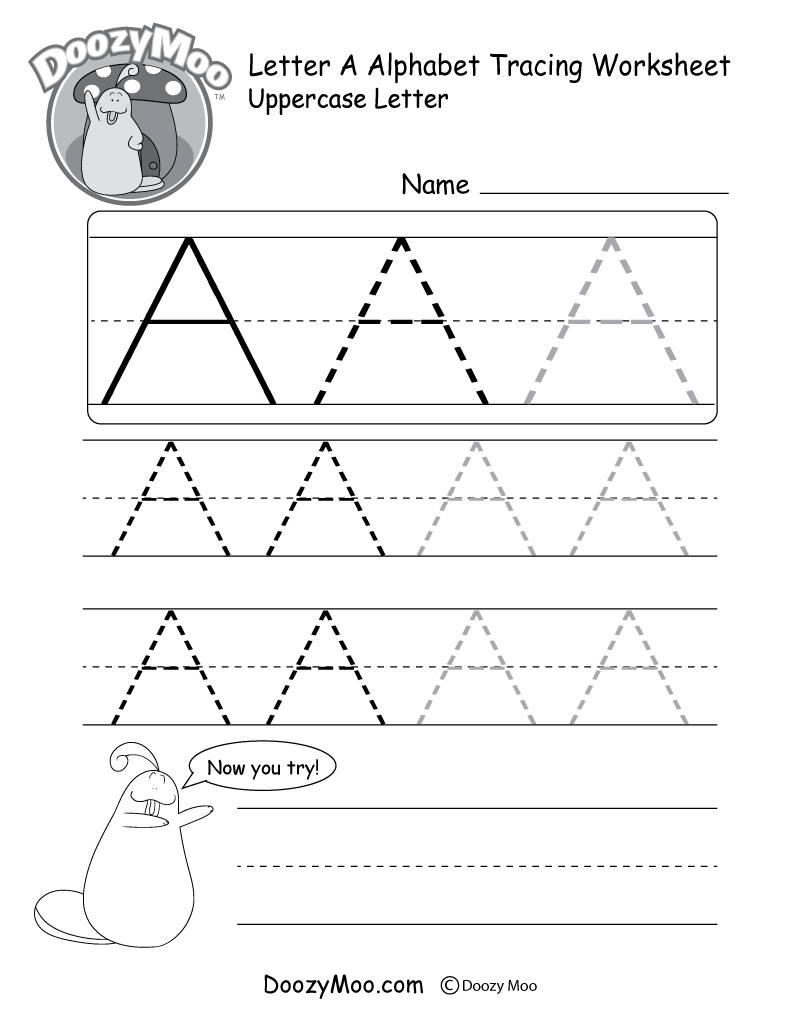 Uppercase Letter Tracing Worksheets (Free Printables) - Doozy Moo - Free Printable Alphabet Tracing Worksheets