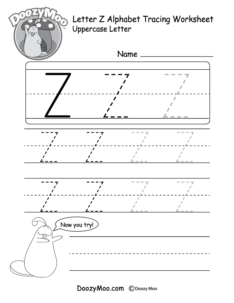 Uppercase Letter Z Tracing Worksheet - Doozy Moo - Letter Z Worksheets Free Printable