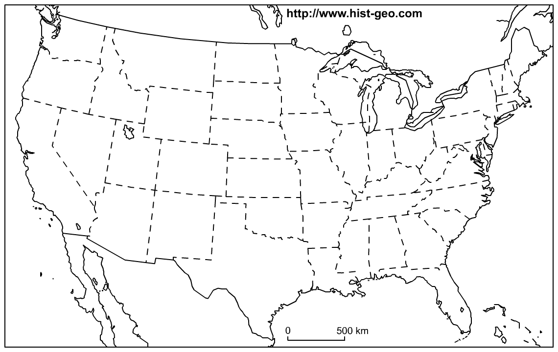 Us States Blank Map (48 States) - Free Printable Outline Map Of United States