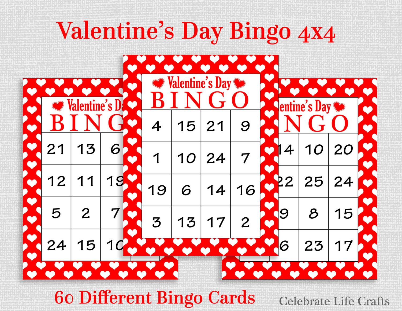 Valentine Bingo Game 60 Printable Valentine's Bingo Cards | Etsy - Free Printable Valentines Bingo