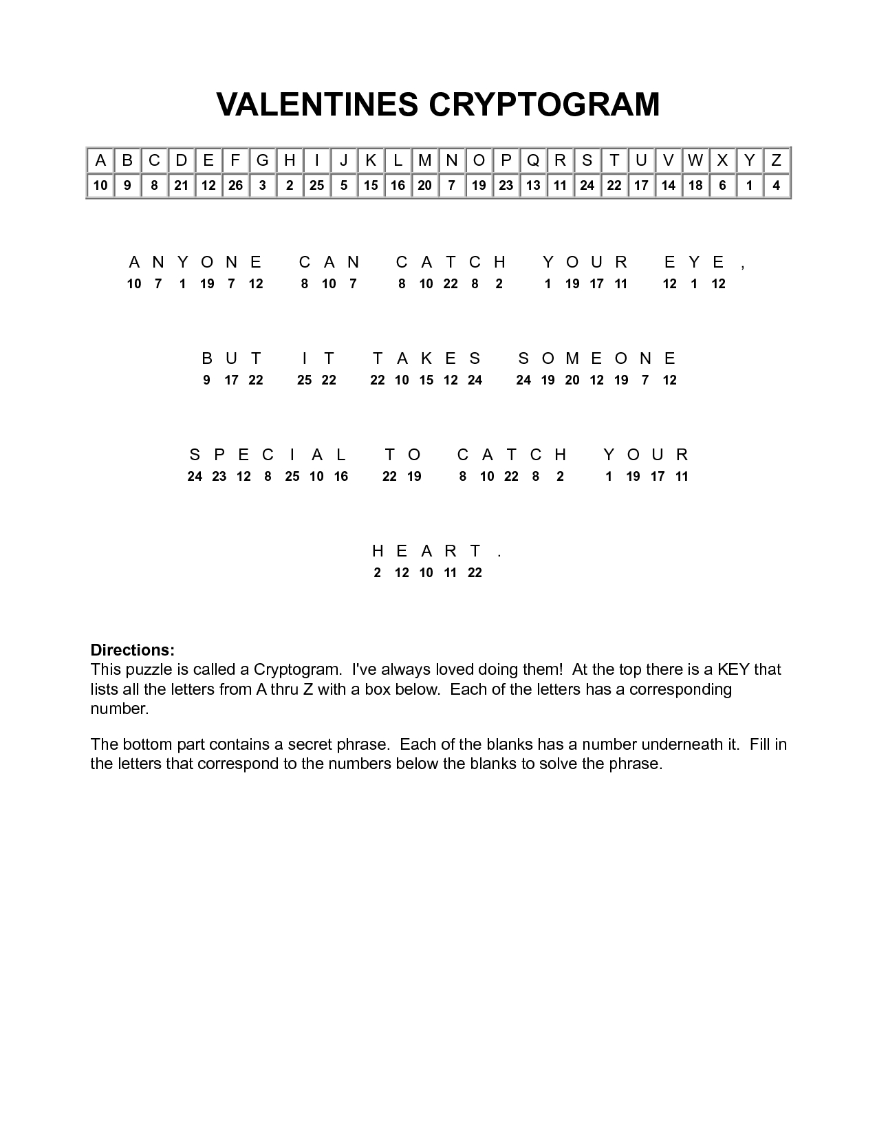 Valentine Cryptograms To Print | Valentines Cryptogram | Puzzles - Free Printable Cryptoquip Puzzles