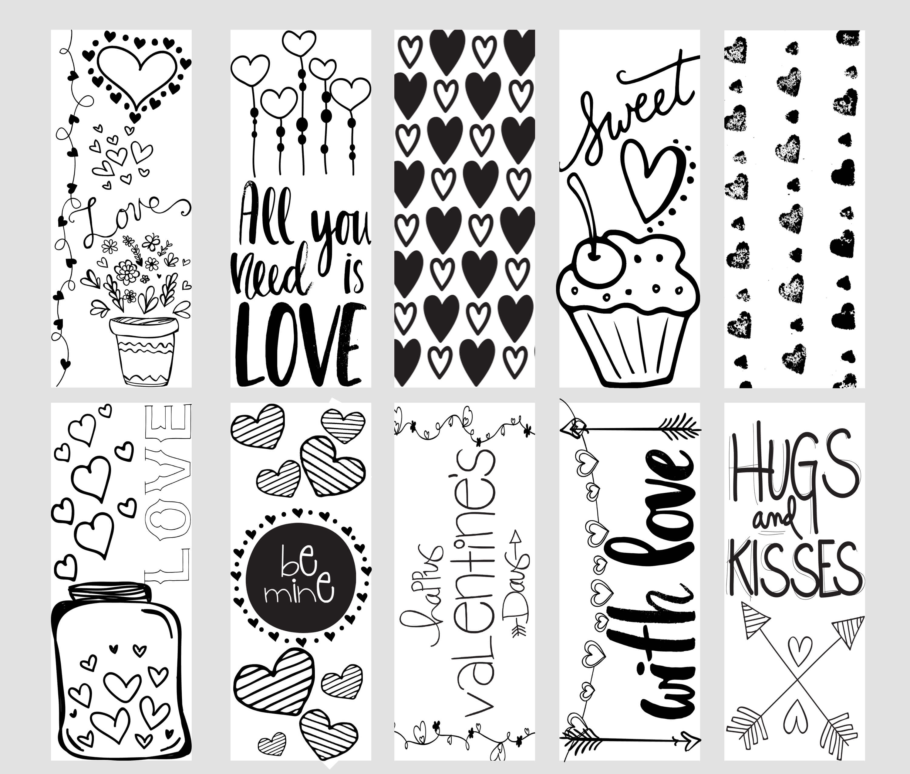 Valentine Printable Coloring Page Bookmarks - Free Printable Bookmarks To Color