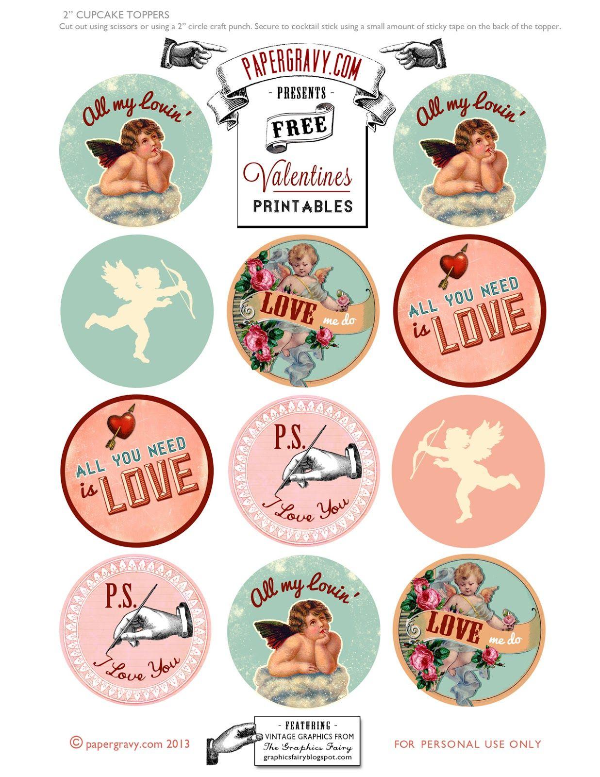 Valentine Printables - Labels - Flags - Cupcake Toppers   Toppers - Free Printable Valentine Graphics