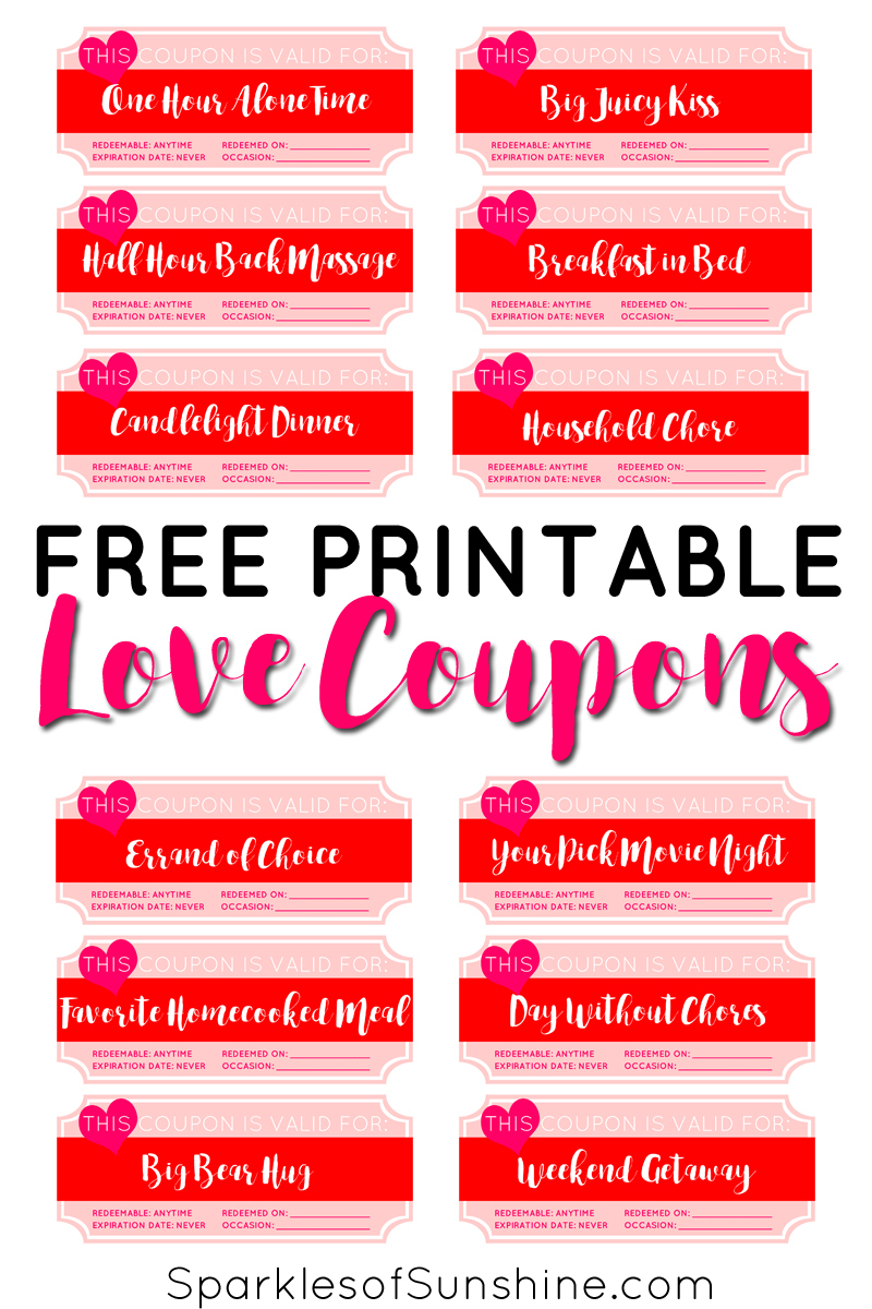Valentine's Day Free Printable Love Coupons - Sparkles Of Sunshine - Free Printable Coupons Without Coupon Printer