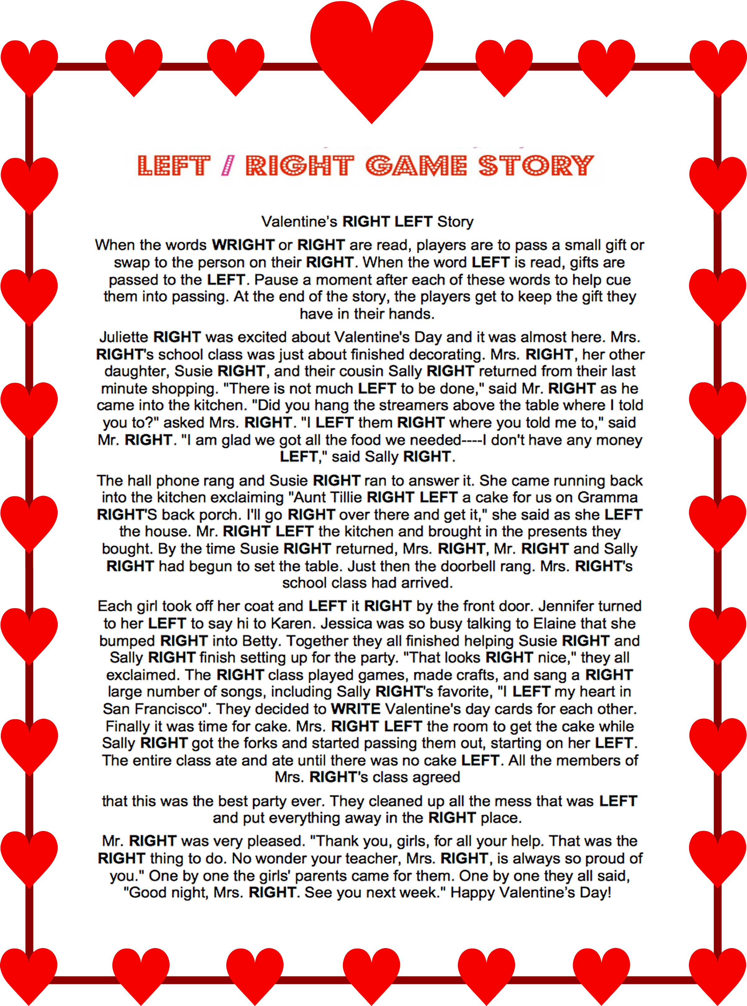 Valentines Day Left Right Story Game #valentines #left #right #game - Free Printable Valentine Games For Adults