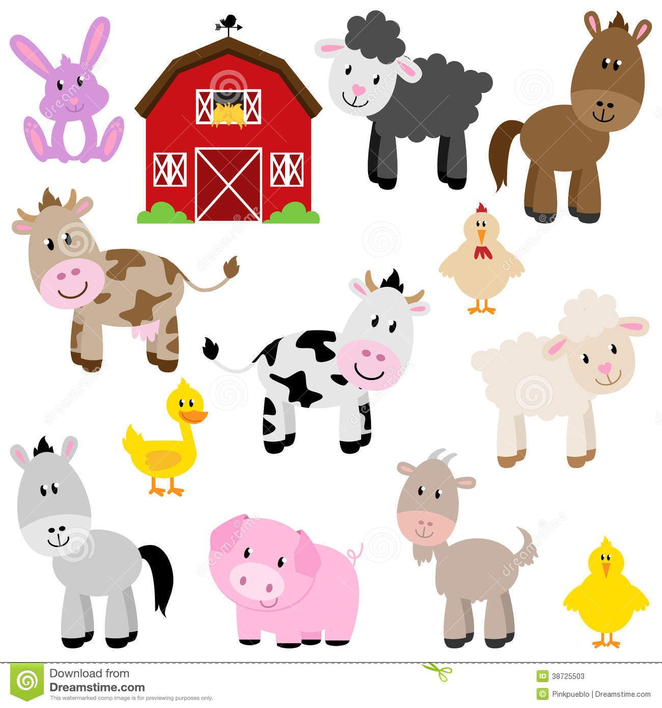 Vector Collection Of Cute Cartoon Farm Animals - Download From Over - Free Printable Farm Animal Cutouts