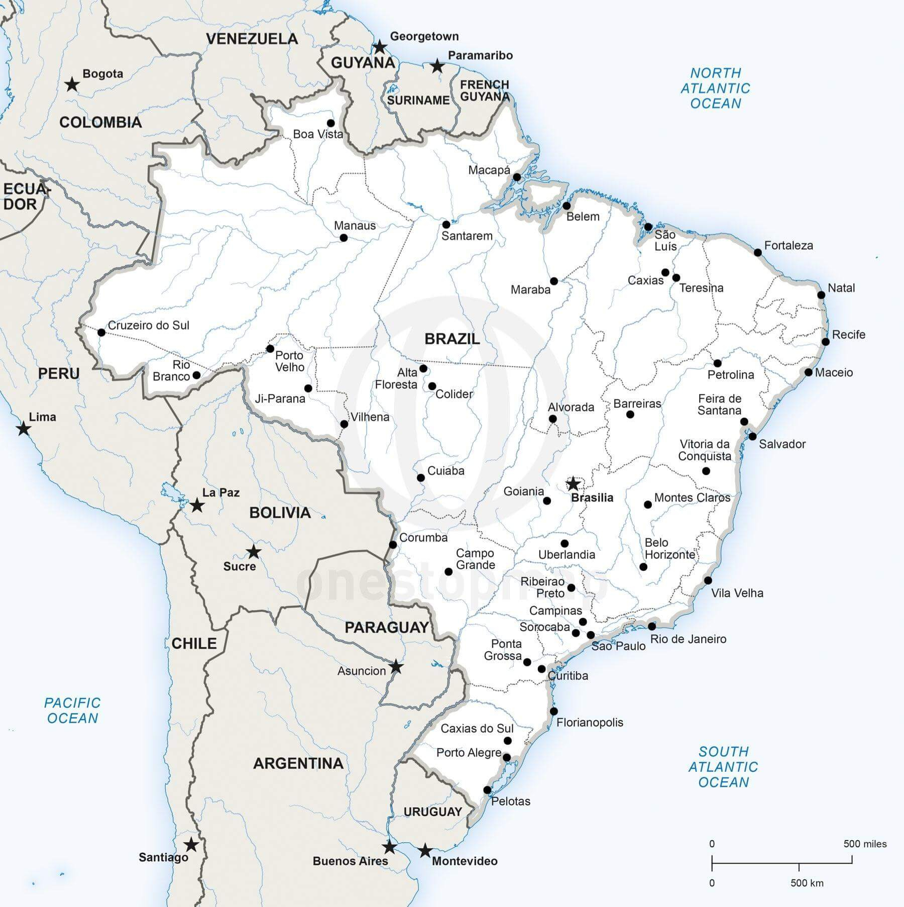 Vector Map Of Brazil Political | One Stop Map - Free Printable Map Of Brazil