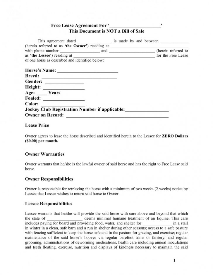 Free Printable Vehicle Lease Agreement