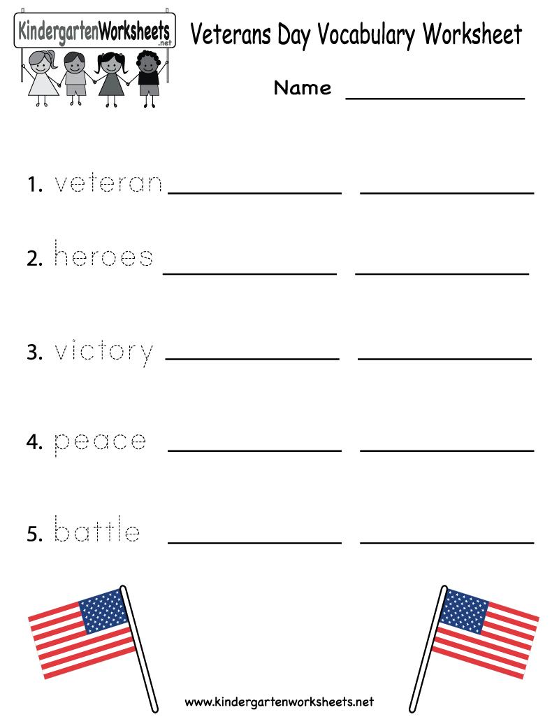 Veterans Day Vocabulary Worksheet - Free Kindergarten Holiday - Free Printable Presidents Day Worksheets