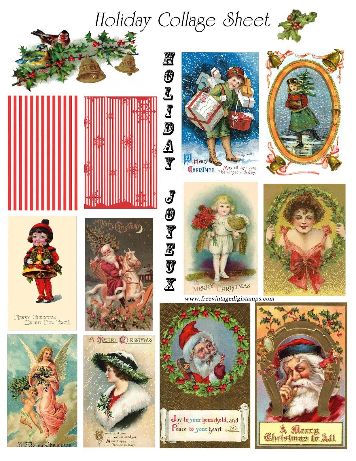 Vintage Cards Free | Free Vintage Digital Stamps**: Free Vintage - Free Printable Christmas Photo Collage